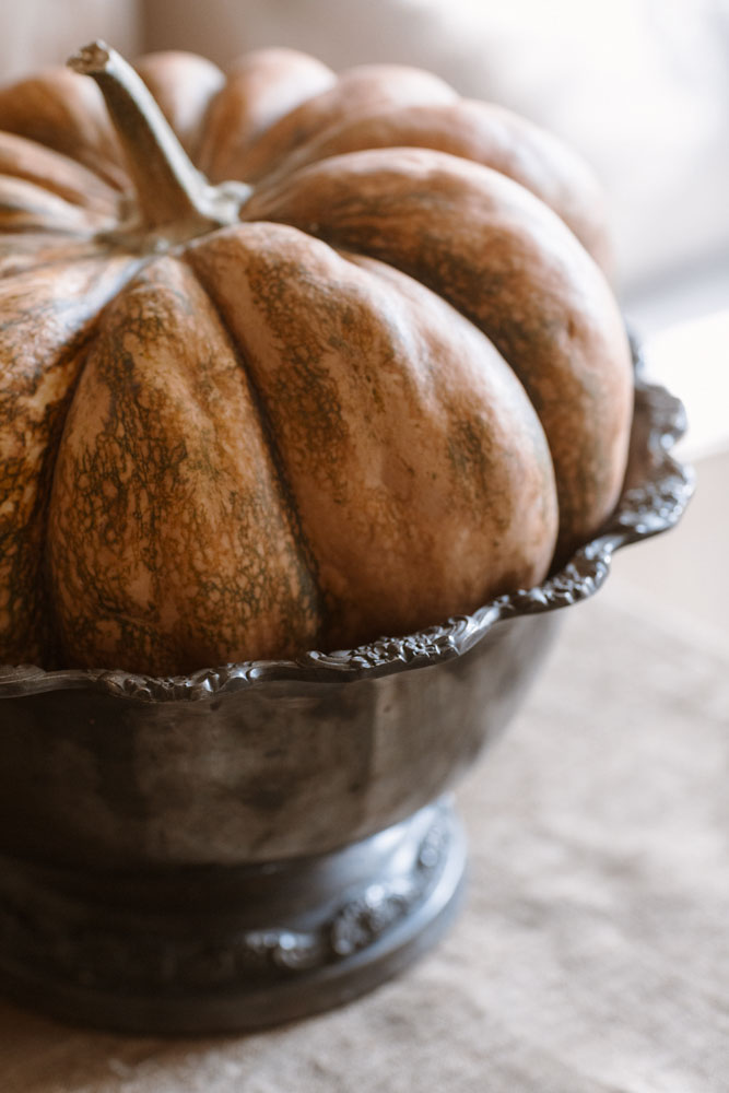Rustic pumpkin in tarnished silver bowl.