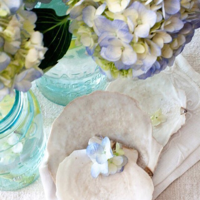 Always love using hydrangeas in blue mason jars Mixed withhellip
