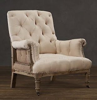 New Deconstructed Tufted Roll Arm Chair from Restoration Hardware as seen on linen and lavender