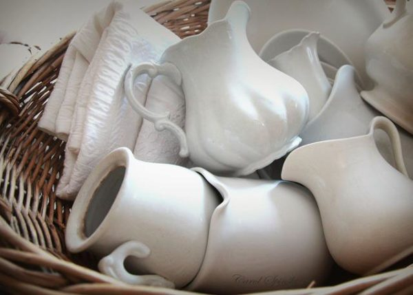Basket of white ironstone pitcher